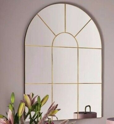 £89.99 • Buy LARGE Gold Arched Window Mirror 80x60cm NEW Home Decor