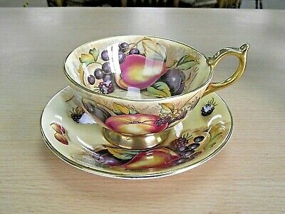 £95 • Buy AYNSLEY ORCHARD GOLD CUP & SAUCER - SIGNED N. BRUNT (no1)