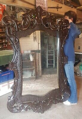 £95 • Buy Massive Carved Wooden Gothic Mirror (70 ×43 )