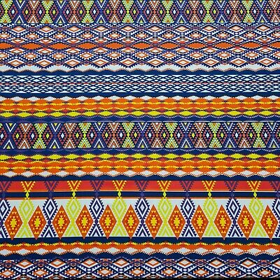 £4.49 • Buy Jersey Lycra Fabric Multicolour Ethnic Aztec Printed 55  Wide Sold By The Metre