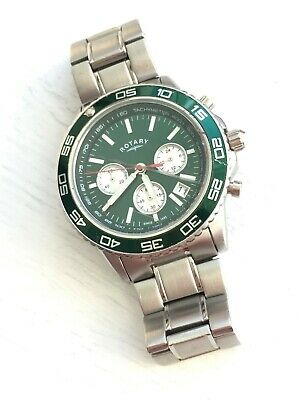 £44.99 • Buy Rotary Mens Green Dial Chronograph Bracelet Watch Gents GB03067/24