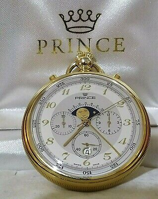 £709.14 • Buy Prince Swiss Pocket Watch With Chronograph ,moon Phase, Days, New Old Stock