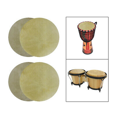 £26.67 • Buy 4Pcs Buffalo Leather Drum Bongo Drum Skin Cover Musical Replacement Accs