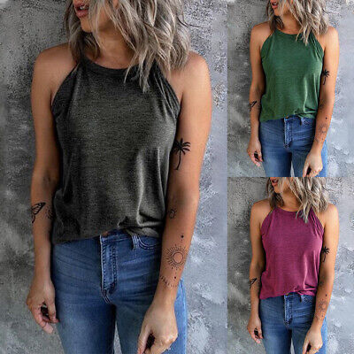£7.69 • Buy Womens Halter Neck Sleeveless Vest Tank Top Ladies Casual Loose Blouse T-shirt A