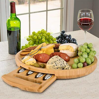 £29.95 • Buy Oval Cheese Board Set With Hidden Cutlery Drawer And 4 Stainless Steel Knife & 4