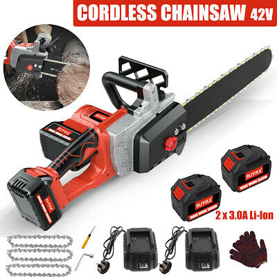 £119.99 • Buy 16''Electric Cordless Chainsaw Wood Cutting Tool With 3 Chains 2 Battery Charger