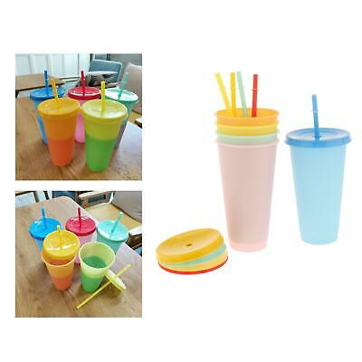 £9.89 • Buy 5PCS Color Changing Cup Reusable Tumbler With Lid And Straw Cold Cup