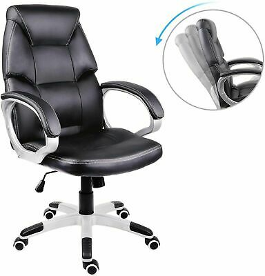 £79.59 • Buy Adjustable Office Computer Gaming Chair Swivel High Black Padded PU Leather Seat