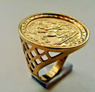 £145 • Buy 9ct Gold St George & Dragon Coin Medal Ring UK Size O Hallmarked