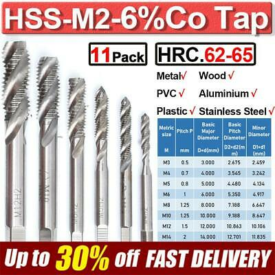 $17.39 • Buy HSS-M2 Spiral Metric Tap Set Thread Cutter Taps For Stainless Steel M3-M20 Tools