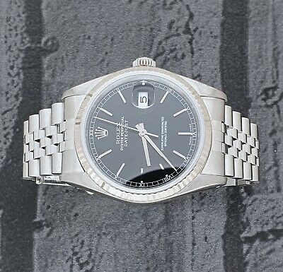 $ CDN7464.29 • Buy MINT Mens Rolex Datejust 16234 In Steel And 18ct White Gold - Black Dial.