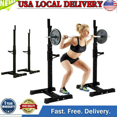 $ CDN121.07 • Buy Adjustable Barbell Rack+Squat Rack Dipping Station  Dip Stand Home Gym Fitness