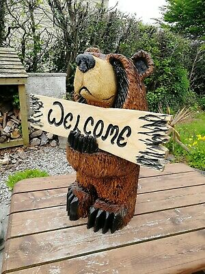 £365 • Buy Chainsaw Carved Grizzly Welcome Bear /Garden Sculpture