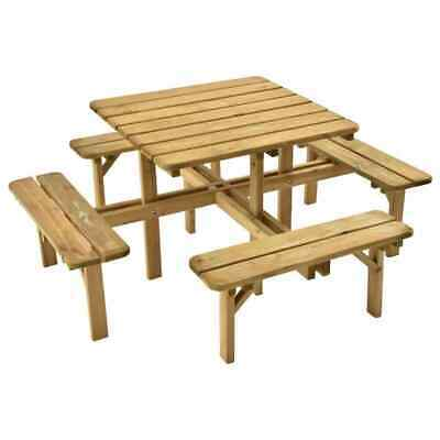 £264.99 • Buy BIRCHTREE 8 Seater Wooden Pub Bench Square Picnic Table Furniture Garden Patio