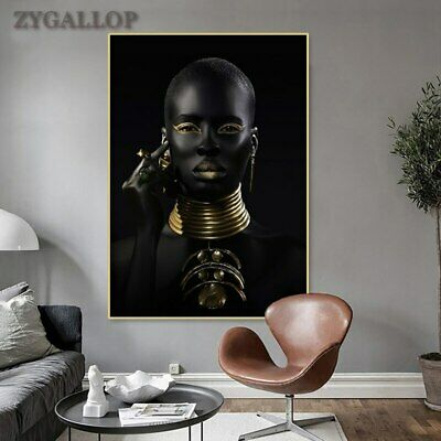 £5.78 • Buy Black And Gold African Woman Poster Modern Wall Art Canvas Painting Decorative