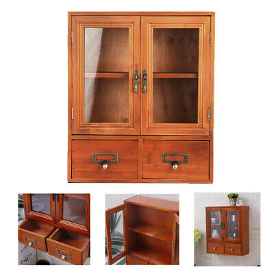 £25.93 • Buy Wall Mounted Wooden Cabinet Storage Cupboard Brown Display Shelves W/ Drawers
