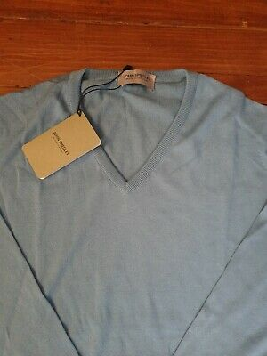£29.99 • Buy JOHN SMEDLEY PALERMO Mens Pure Blue Cotton Pullover Size Large BNWT RRP £145