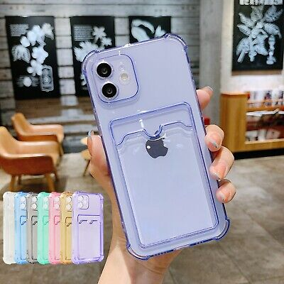 AU7.78 • Buy Clear Case For IPhone 12 Pro Max 11 XS XR 8 7 Plus Card Holder Wallet Soft Cover