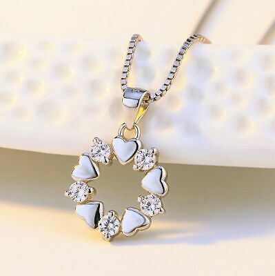 £2.99 • Buy Crystal Heart Linked Charm Pendant Chain Necklace 925 Sterling Silver Jewellery