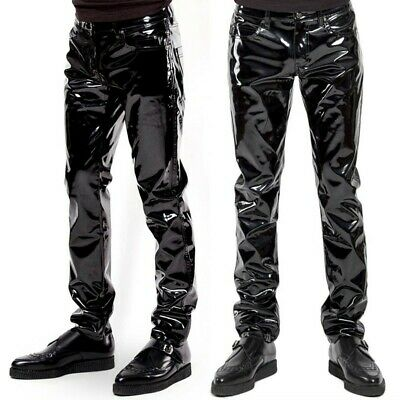 £24.16 • Buy Mens Faux Leather Long Pants Wet Look Biker Gothic Motorcycle Trousers Bottoms