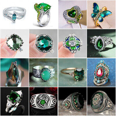 £2.16 • Buy Pretty Women Jewelry Emerald 925 Silver Ring Wedding Engagement Rings Size 6-10