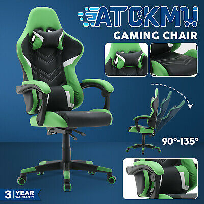 AU149.90 • Buy Computer Gaming Chair Racer Executive Office Recliner PU Leather Seat Green