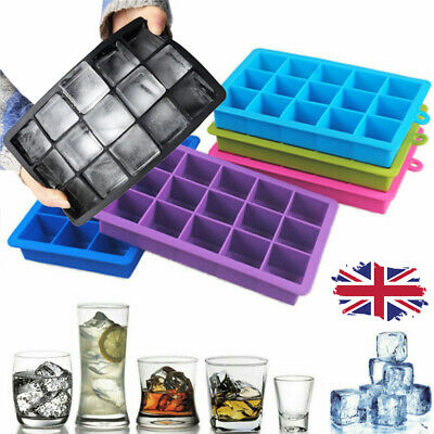 £1.99 • Buy 15 Grids Large Ice Cube Tray Maker Big Rubber Mold Square DIY Ice Mould HOT UK