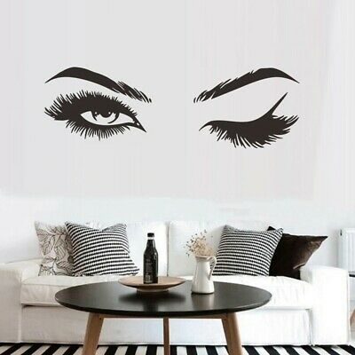 £5.99 • Buy Wall Art Sticker Eye Lashes Extensions Beauty Salon Eyebrows Wall Decor Decal
