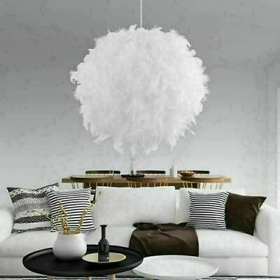£13.99 • Buy Feather Round Ceiling Light Shade Pendant Lampshade Easy Fit Sphere Modern Style