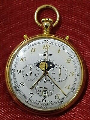 £425.20 • Buy Prince Swiss Pocket Watch With Chronograph ,moon Phase, Days, New Old Stock