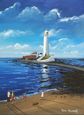 £88 • Buy Pete Rumney Original Canvas Art Painting Family Fun Day LightHouse Whitley Bay