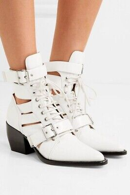 £235 • Buy Chloe Rylee Ankle Boots White EU38 Lace Up Cut Out Leather Boot White UK5 - New