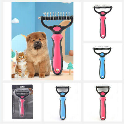 £6.79 • Buy Pet Grooming Brush - Double Sided Shedding And Dematting Undercoat Rake Comb