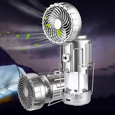 £11.99 • Buy LED Solar Outdoor Electric Fan Camping Light Portable Collapsible Tent Lamp