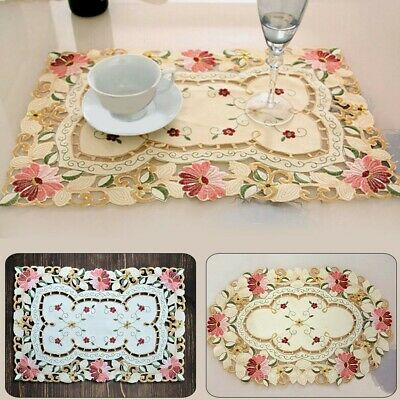 £6.67 • Buy Set Of 1 Placemats Dining Table Mats Vintage Embroidered Lace Doilies Kitchen