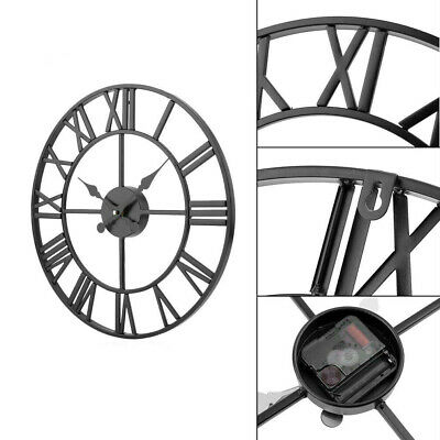 £19.99 • Buy Large Home Garden Wall Clock Metal Skeleton Roman Numeral Open Face Modern Round