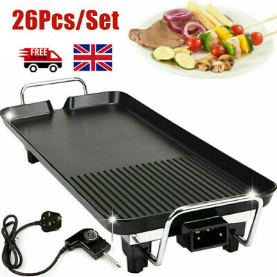 £45.29 • Buy 26x Electric Table Top Grill Griddle BBQ Hot Plate Camping Cooking Cast Iron Pan