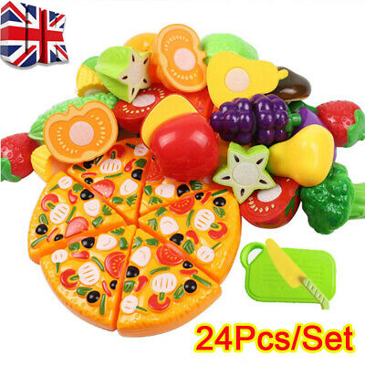 £9.97 • Buy 24Pcs Fruit Vegetable Food Cutting Set Kids Role Play Pretend Chef Kitchen Toy