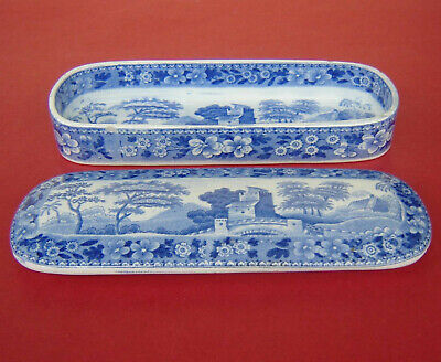 £40 • Buy Spode Pearlware Box Blue & White Tower C1820