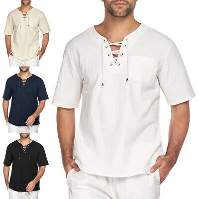 £9.99 • Buy UK Mens Cotton Linen Short Sleeve T-shirt Casual Loose V Neck Lace Up Tops Tunic