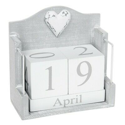 £12.99 • Buy Provence Cool Grey Perpetual Wooden Block Calendar Shabby Chic Date Home Desk