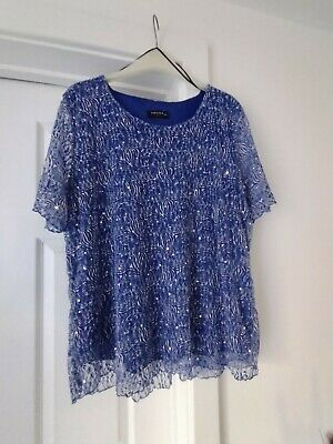 £2 • Buy Forever By Michael Gold Ladies Sequinned Colbalt Blue And White Lace Top - XXL