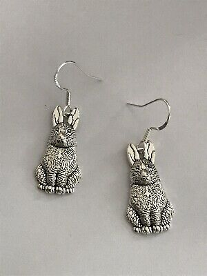 £2.99 • Buy 🔥FREE DELIVERY🔥 - Stunning Silver Rabbit Hare Handmade Dangle Earrings