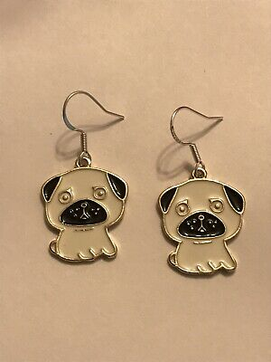£3.50 • Buy 🔥FREE DELIVERY🔥 - Stunning Enamel Silver Pug Dog Puppy Handmade Earrings