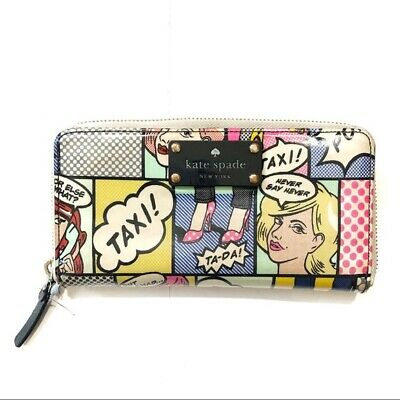 $ CDN42.51 • Buy Kate Spade Lacey Daycation Comic Zip Around Wallet Multicolor Good Condition