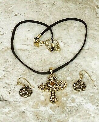 $ CDN25.16 • Buy Lia Sophia  Tranquility  Colored Crystals Gold Cross Necklace & Earrings Set