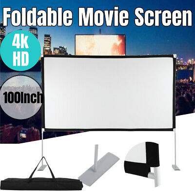 AU67.99 • Buy Foldable Screen With Stand 100 Inch Indoor Outdoor Movie Projection Screen 16:9