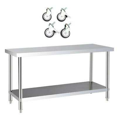 £95.94 • Buy Stainless Steel Commercial Catering Prep Table With Wheels Kit Kitchen Work Top
