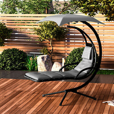 £219.95 • Buy Outdoor Hanging Lounger Sun Hammock Chair Garden Swing With Arc Stand & Canopy