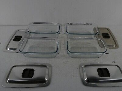 £60 • Buy Set Of 4 EKCO Hostess Trolley Serving Dishes And Lids Cookware Glass Pyrex. G30